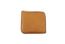 イタリアンバケッタレザーを使用したブラウン色L字ファスナーミニ財布