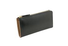 ブライドルレザーを使用した黒色のL字ファスナー長財布