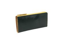 ブライドルレザーを使用したグリーンとイエローのラウンドファスナー長財布
