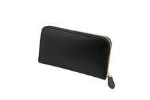 ブライドルレザーを使用した黒色のラウンドファスナー長財布