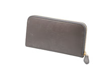ブライドルレザーを使用したトープ色のラウンドファスナー長財布