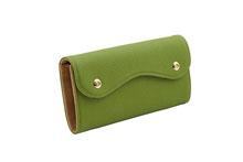 ドイツシュリンクを使用したライトグリーン色のカブセ型長財布