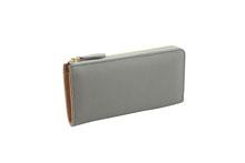 ドイツシュリンクを使用した灰色のL字ファスナー長財布