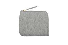 ドイツシュリンクを使用した灰色のL字ファスナーミニ財布