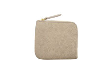 ドイツシュリンクを使用したライトグレー色のL字ファスナーミニ財布