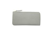 ドイツシュリンクを使用した灰色のL字ファスナー薄型長財布