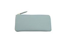 ドイツシュリンクを使用したスカイ色の薄型L字ファスナー長財布