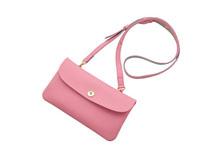 ドイツシュリンクを使用したピンク色の肩かけポシェット型長財布