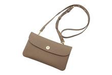 ドイツシュリンクを使用したトープ色の肩かけポシェット型カブセ長財布