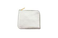 イタリアンキップレザーを使用した銀色のL字ファスナースリムミニ財布