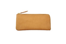 イタリアンレザーを使用したナチュラル色のL字ファスナー長財布