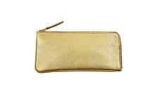 イタリアンシープレザーを使用した金色のL字ファスナー薄型長財布