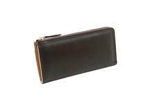 イタリアンカーフを使用したL字ファスナー長財布チョコ