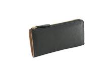 イタリアンレザーを使用した黒色のL字ファスナー長財布
