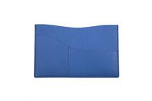 国産スムースレザー カードケース (コバルトブルー)