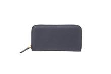 Mezzo Shrinkを使用したネイビー色のラウンドファスナー長財布