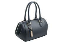ノブレッサカーフを使用したネイビー色の小さめハンドバッグ