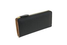 ノブレッサカーフを使用した黒色のL字ファスナー長財布