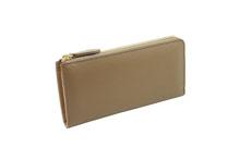 ノブレッサカーフを使用したトープ色のL字ファスナー型長財布