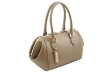 ノブレッサカーフを使用した知トープ色の小さめハンドバッグ