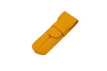 ノブレッサカーフを使用した黄色の2本差しペンケース