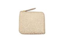 シープレザーを使用したベージュ色のL字ファスナーミニ財布