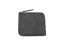 シープレザーを使用した灰色のL字ファスナーミニ財布