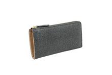 シープレザーを使用した灰色のL字ファスナー長財布