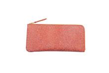 シープレザーを使用したオレンジ色のL字ファスナー薄型長財布
