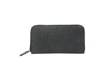 シープレザーを使用した灰色のラウンドファスナー長財布