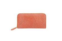 シープレザーを使用したオレンジ色のラウンドファスナー長財布