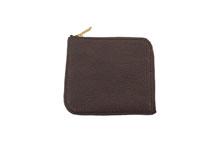 シュリンクレザーを使用したチョコ色のL字ファスナースリムミニ財布
