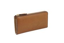 バケッタレザーを使用したブラウン色のL字ファスナー長財布