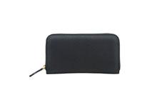 ドイツシュリンクを使用した黒色のラウンドファスナー長財布