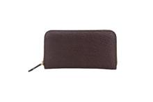 ドイツシュリンクを使用したチョコ色のラウンドファスナー長財布