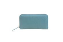 ドイツシュリンクを使用した水色のラウンドファスナー長財布