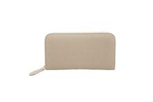 ドイツシュリンクを使用したライトグレー色のラウンドファスナー長財布