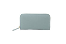 ドイツシュリンクを使用したグレイッシュブルー色のラウンドファスナー長財布