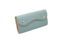 ドイツシュリンクを使用したグレイッシュブルー色のカブセ型長財布
