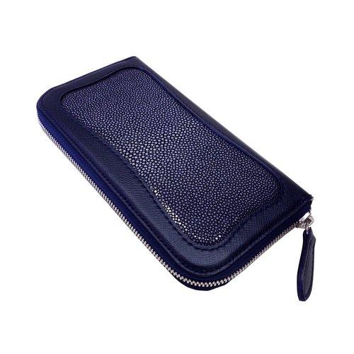 エイ革とノブレッサカーフを使った長財布 ネイビー