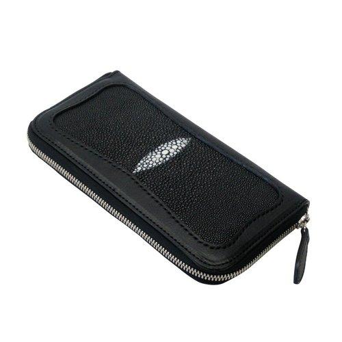 エイ革とミネルバボックスを使ったラウンドファスナー長財布 ブラック