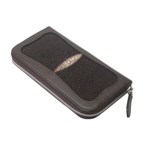 エイ革とミネルバボックスを使ったラウンドファスナー長財布 チョコ