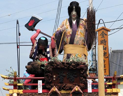 金時山姥の人形が乗った山車