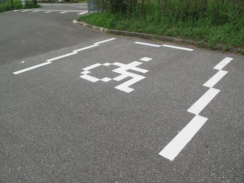 オシャレな駐車場のライン