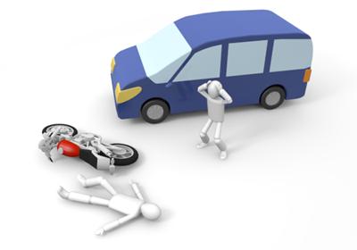 交通事故を起こした車