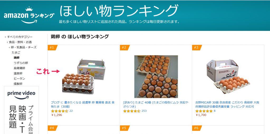 amazonほしいものランキングの鶏卵部門のスクリーンショット