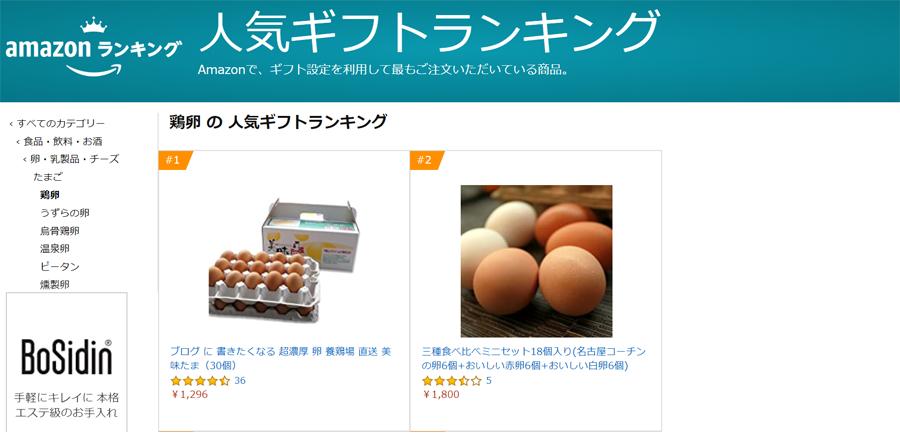 amazon鶏卵の人気ギフトランキング部門のスクリーンショット